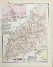 Antique Map Windham, Maine - FW Beers Cumberland County Maine 1871