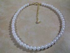 """Pearls White Acrylic Beads Choker 6mm 16""""  3"""" Extender Chain New Beauty"""