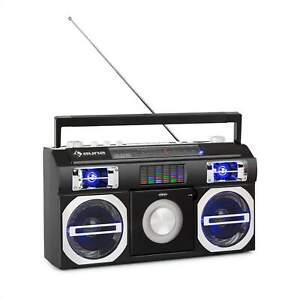 Retro Boombox Stereoanlage CD Player Bluetooth USB MP3 Lautsprecher Radio LED