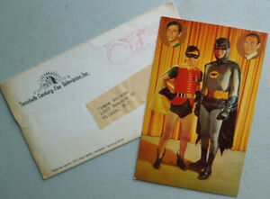 Vintage 1966 BATMAN & ROBIN Fan Club Photo CARD w/ Envelope 20th Century Fox TV
