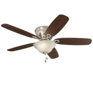 """Harbor Breeze, 52"""" Brushed Nickel LED Indoor Ceiling Fan w Frosted Shade"""