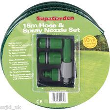 SupaGarden tuyau de jardin bobine & buse de pulvérisation accessoires set kit 15m-neuf