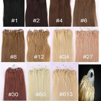 Remy Human Hair Extensions Micro Ring Easy Loop Hoop 100% Real Natural 100s