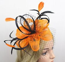 STUNNING ORANGE AND BLACK SINAMAY FASCINATOR WITH NETTING AND MATCHING FEATHERS