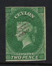 CEYLON : 1857 TWO PENCE yellowish green shade IMPERFORATE SG 3a used