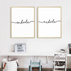 Inhale Exhale Nordic Style Poster Prints Wall Art Canvas Painting Home Decor