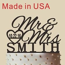 """Made in USA Customized Wedding Cake Topper Mr Heart Mrs With Name and Date 6"""""""