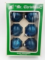 "VTG MR CHRISTMAS Vintage 2 5/8"" Glass Blue Christmas Tree Ornaments box of 6"