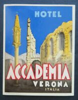 Ancienne étiquette valise HOTEL ACCADEMIA VERONE ITALIE old luggage label