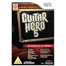 GUITAR HERO 5=NINTENDO Wii=MICROPHONE/DRUM/GUITAR COMPATIBLE=83 SONGS=ROCK=U
