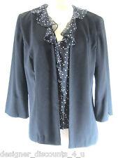 Miss Dorby black mock 2-pc ruffle blouse Jacket Blazer sexy coat top Size sz 2