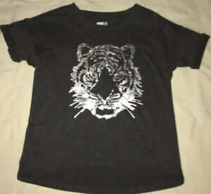 Crazy Eight By Gymboree Girls Size M 7/8 Gray T-Shirt Tiger Screenprint Nwt
