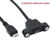 Micro USB 2.0 Male To Female Extension Cable With Screws Panel Mount Hole KA