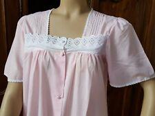 Chemise de nuit vintage rose avec broderie anglaise T 42 - 14391