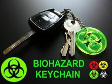 BIOHAZARD UV REACTIVE Key Chain/Keyring/Glow In The Dark/Neon/Rave/Party/GREEN