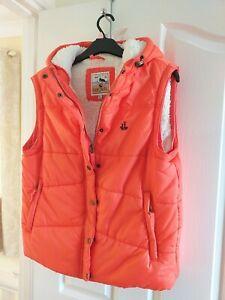 Lazy Jacks Orange Fleece Lined Quilted Gillet Size XL