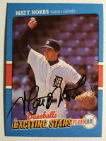 1988 Fleer Matt Nokes Exciting Stars Auto Autograph Card Tigers Signed #29