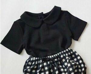 Baby girl Sweet Cute short sleeve soft top perfect birthday gift black w collar