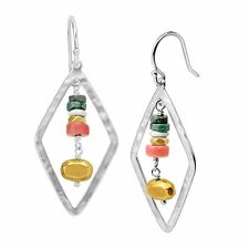 Silpada 'colorful Array' Sterling Silver Brass Coral and Howlite Drop Earrings