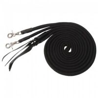 Royal King Black Deluxe Flat Cotton Split Reins w/ Leather Poppers Horse Tack