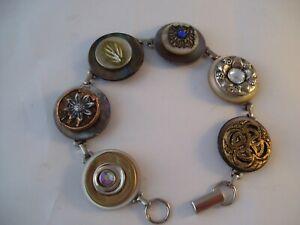 Stacked Vintage Button Bracelet Kamehameha Hand Made Wearable Art OOAK J
