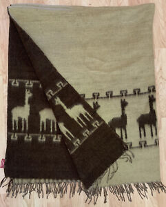 NWT Sanyork Alpaca Wool Brown/Tan Throw Blanket ~ Handmade Peru ~ New