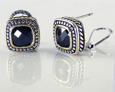 Designer Style Black Onyx CZ Earrings Rope Silver Gold 18KGP Omega Back