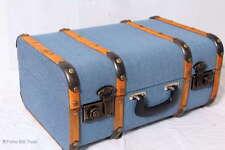 """Vintage Koffer Oldtimerkoffer Kutscherkoffer Blau Holzleisten 4 Größen """"XL"""""""