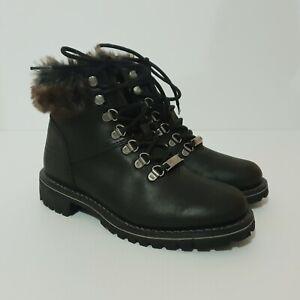 Size 7 38 HARLEY DAVIDSON Black Benton Boots Biker Faux Fur Lace Up BNWOB D84317