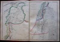 Syria Palestine Holy Land Jerusalem 1860's Hughes fine old vintage antique map