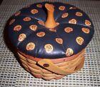 "LONGABERGER Vintage 1996 Halloween Pumpkin Basket with Lid & Handle 7"" x 6"" EUC"