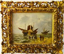 M.Shlüter Antike Ölgemäalde Segelschiffe im Meer mit Fischern Schöneswerk 1880