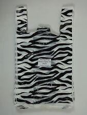 50 Qty. Zebra Print Design Plastic T-Shirt Retail Shopping Bags w/ Handles