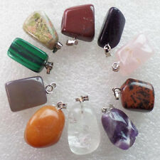 Interesting 10pcs Mixed Stone Tumble Pendant Bead S309