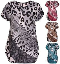 Animal Print Scoop Neck Cap Sleeve Tops & Shirts for Women