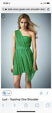 Kate Moss Top Shop Dark Green One Shoulder Ruched Mini Event Dress Sz 12