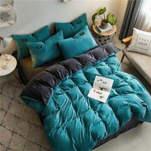 Fashion Velvet Fleece Bedding Set Stripe Duvet Cover Sheet Pillowcase 4pcs/set