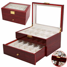 20 Grid Slots Watch Box Wood Display Glass Top Jewelry Storage Organizer Case UK