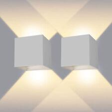 APPLIQUE CUBO LED 12W FARO FARETTO LAMPADA DA PARETE MURO DOPPIA LUCE X ESTERNO