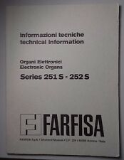 Original Farfisa Electronic Organ Model 251S -252S Technical Information