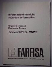 Original Farfisa Electronic Organ Model 251S -252S Technical Information
