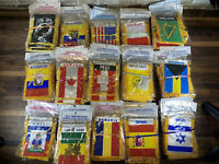 "Lot Of 130+ Assorted Mini Banner 4""x6"" USA, POW-MIA, Bahamas, Israel, Ireland"