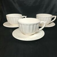 Set of 3 American Atelier Anthem Ironstone Tea Cup Coffee with Saucers