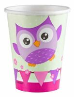 8pk Owls Paper Cups Cute Nature Bird Birthday Party Tableware Supplies