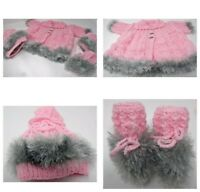 """Gorgeous Hand Knitted 3 Piece Set for 20 /22"""" Reborn Doll or 3 month Baby"""