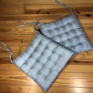 Seat Pad Cushions 2 PC Tie On Square Aqua Shimmer Dining Bar Patio 17'' NWOT