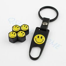 Tire Air Cap Wheel Tyre Valve Cover Chrome Styling Key Chain Smile Smiling Face