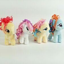 "My Little Pony Plush Lot of 4 Stuffed Ponies 6"" MLP Ribbon Mane Rainbow Dash"