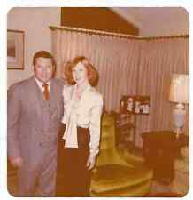 Square Vintage 70s PHOTO Couple w/ Redhead Woman In Dressy Outfits