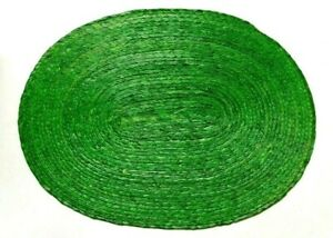 4 New beautiful Hand Woven Palm straw oval Placemats Bright Green from Mexico